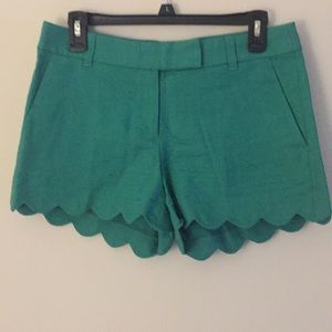 J Crew Green Scalloped Shorts - Size 4